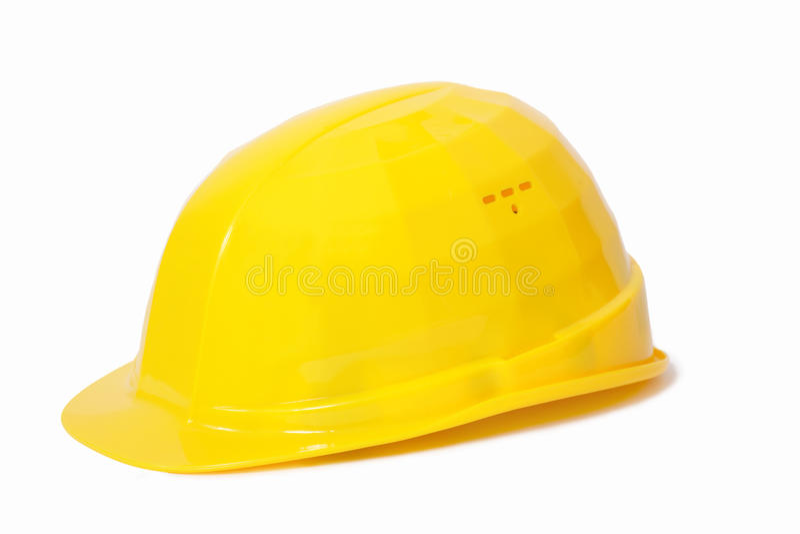 Gelber schützender Sturzhelm lizenzfreie stockfotos