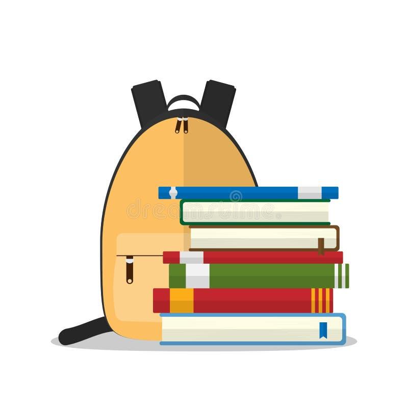 Gelber Schulrucksack vor Stapel Büchern lokalisiert auf weißem Hintergrund lizenzfreie abbildung