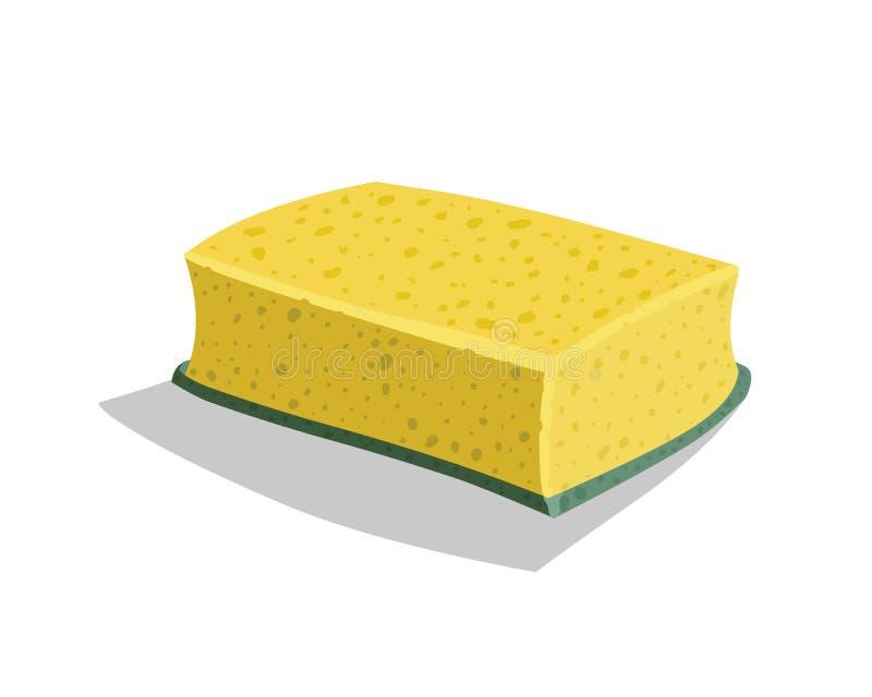 Gelber Schwamm für waschende Teller stock abbildung