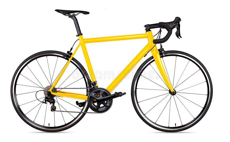 Gelber schwarzer laufender Sportrennrad-Fahrradrennläufer lokalisierte stockfotografie