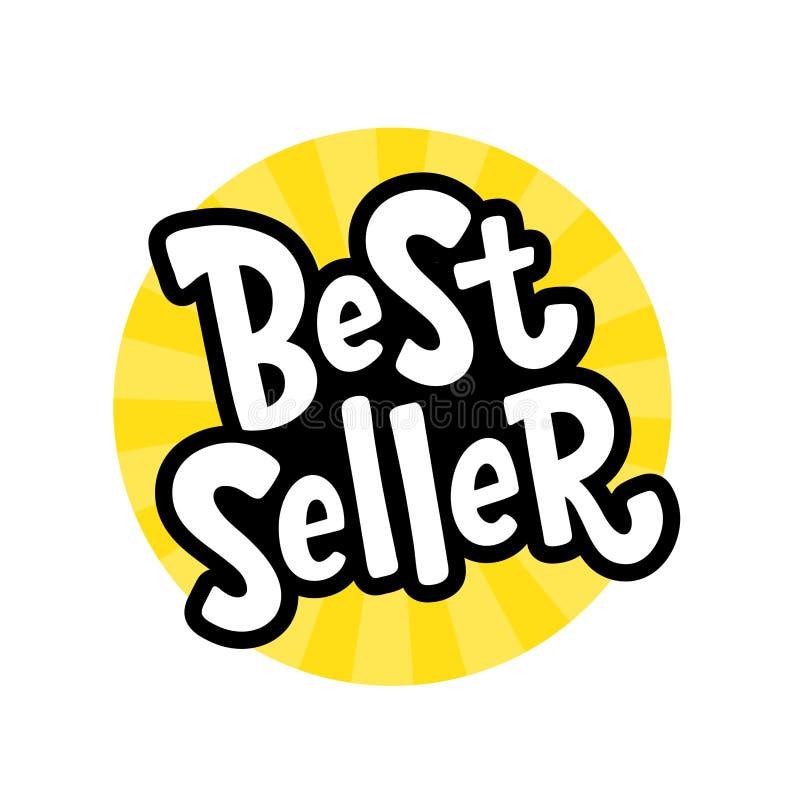 Gelber schwarzer Textaufkleber des Verkaufsschlagers Bestsellerwort Hand gezeichnet, Gestaltungselement beschriftend vektor abbildung
