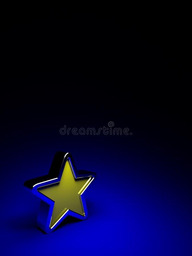 Gelber Stern auf dunkelblauem Hintergrund lizenzfreie abbildung