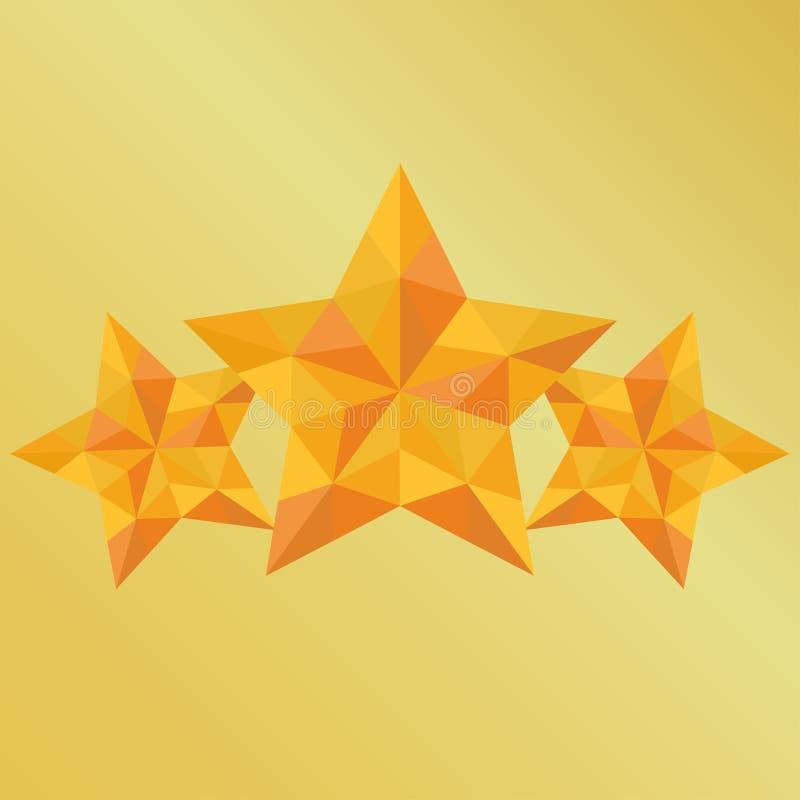 Gelber Stern der Triangulation des Sieges drei auf Goldhintergrund stock abbildung