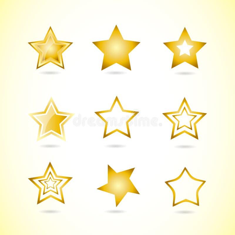 Gelber Sternlogoikonen-Symbolsatz lizenzfreie abbildung