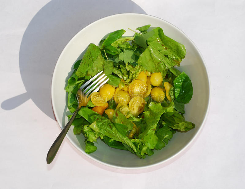 Gelber Tomate-Salat stockbilder