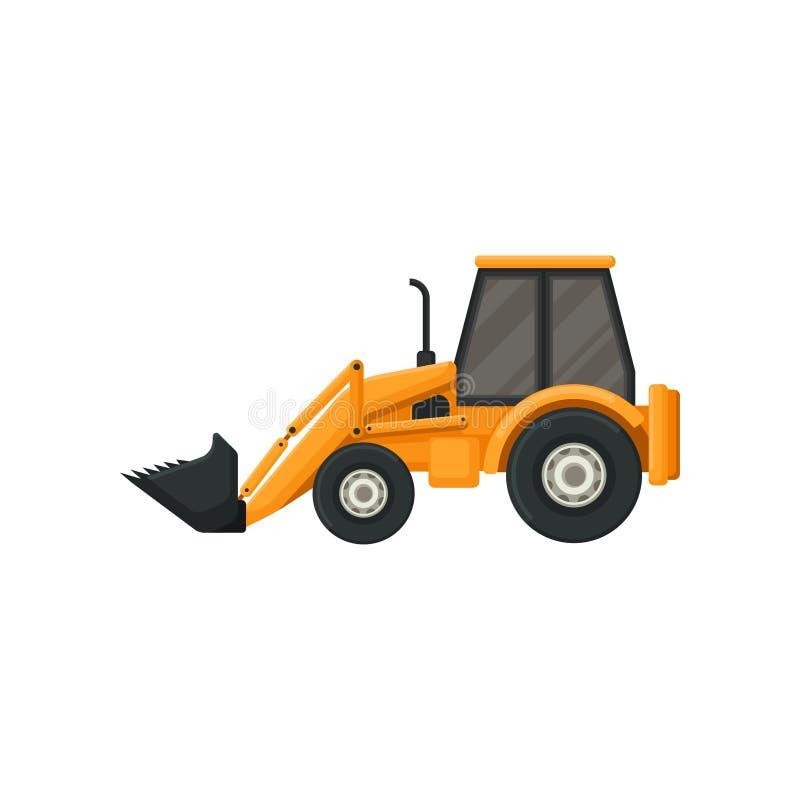 Gelber Traktor mit Eimer Vorgelagerte Ladevorrichtung Schwere Maschine benutzt in den Bauarbeiten Flaches Vektordesign lizenzfreie abbildung