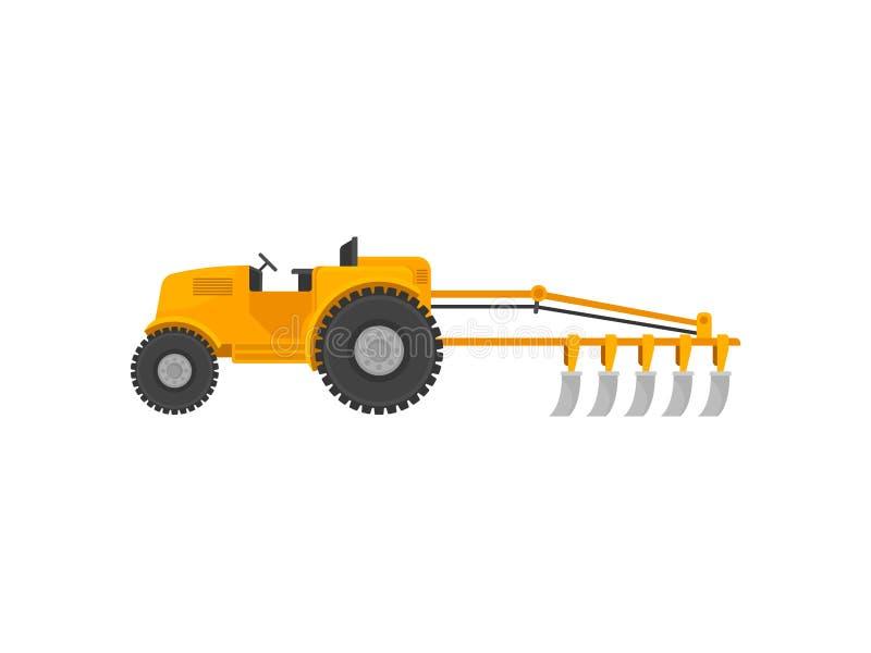 Gelber Traktor mit einem Pflug Vektorabbildung auf wei?em Hintergrund stock abbildung