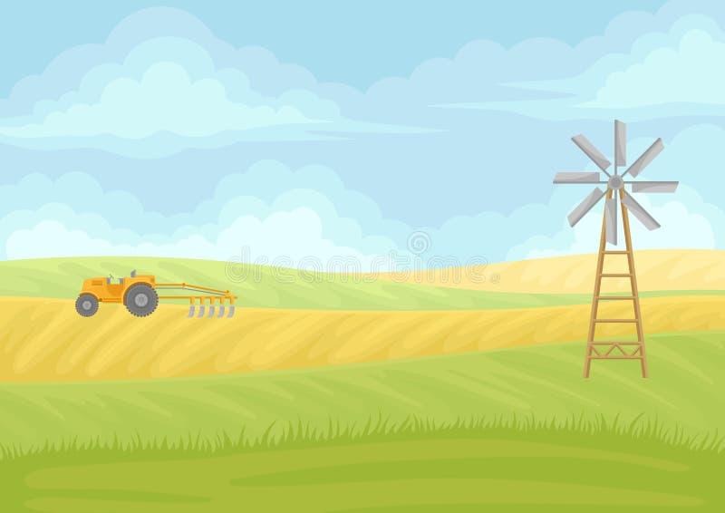 gelber Traktor mit Pflug auf dem Gebiet Vektorabbildung auf wei?em Hintergrund stock abbildung