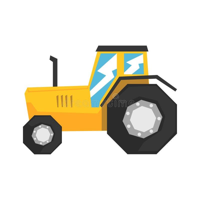 Gelber Traktor, schwere Illustration Vektor der landwirtschaftlichen Maschinerie lizenzfreie abbildung