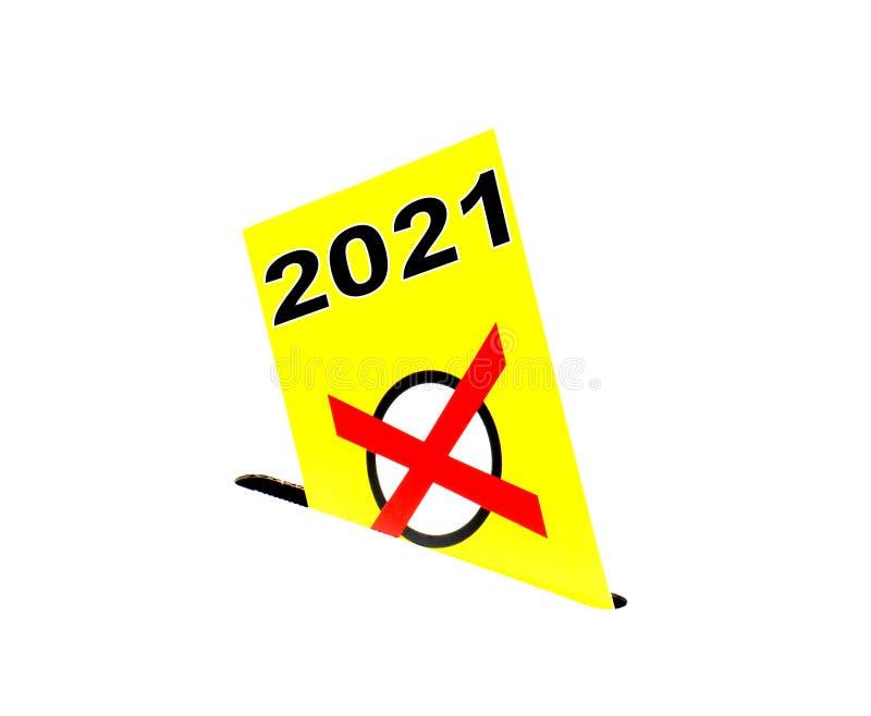 Gelber Umschlag mit Wahlurne - Wahl 2021 stock abbildung