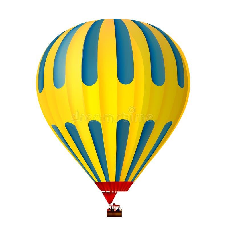 gelber und blauer Heißluftballon 3d stockfotos