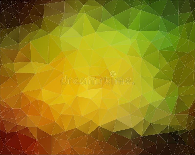 Gelber und grüner Vektor Hintergrund mit Dreieckformen lizenzfreie abbildung