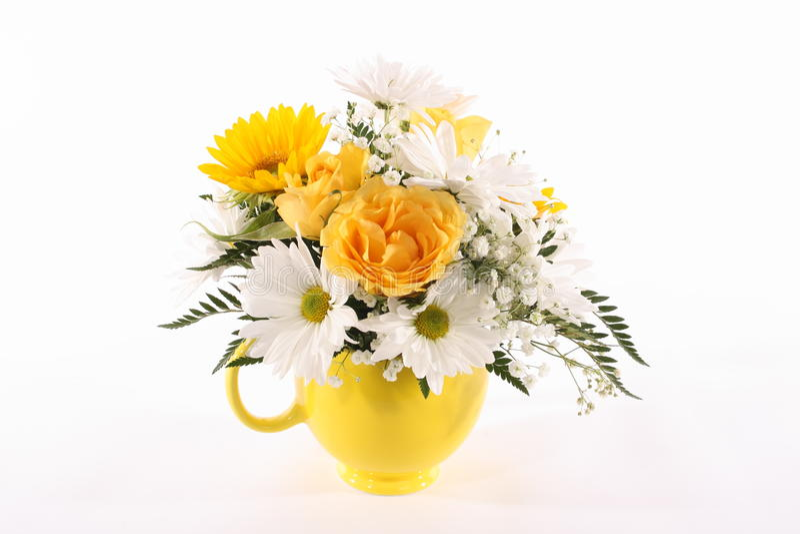 Gelber Vase Blumen stockfotografie