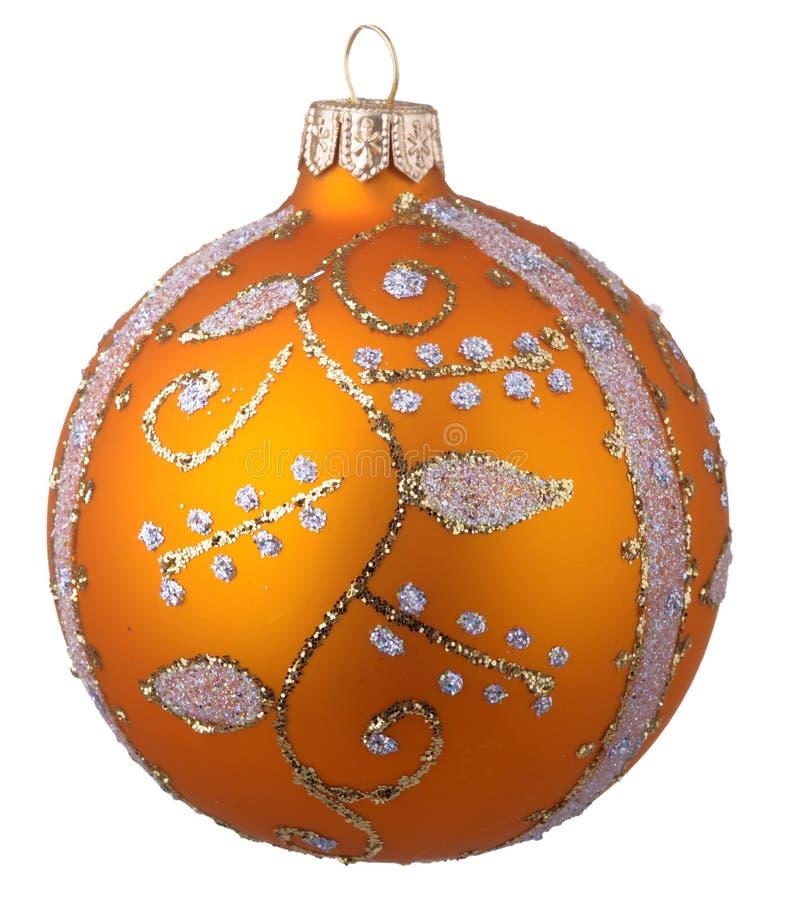Gelber Weihnachtsball mit Verzierung stockfotos