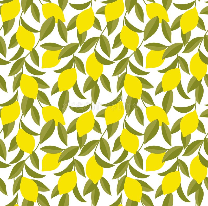 Gelber Zitronenbaum Art Seamless Pattern vektor abbildung