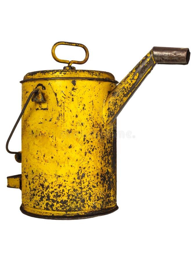 Gelbes Öl der Weinlese kann lokalisiert auf Weiß lizenzfreies stockfoto