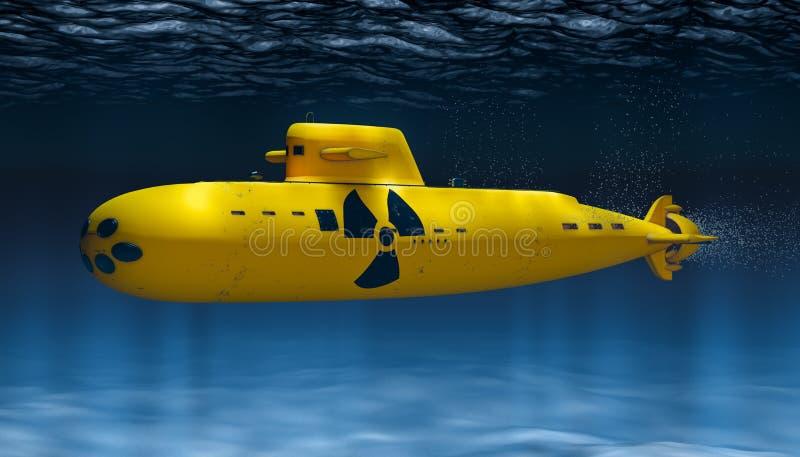 Gelbes atomgetriebenes Unterseeboot, 3D stock abbildung