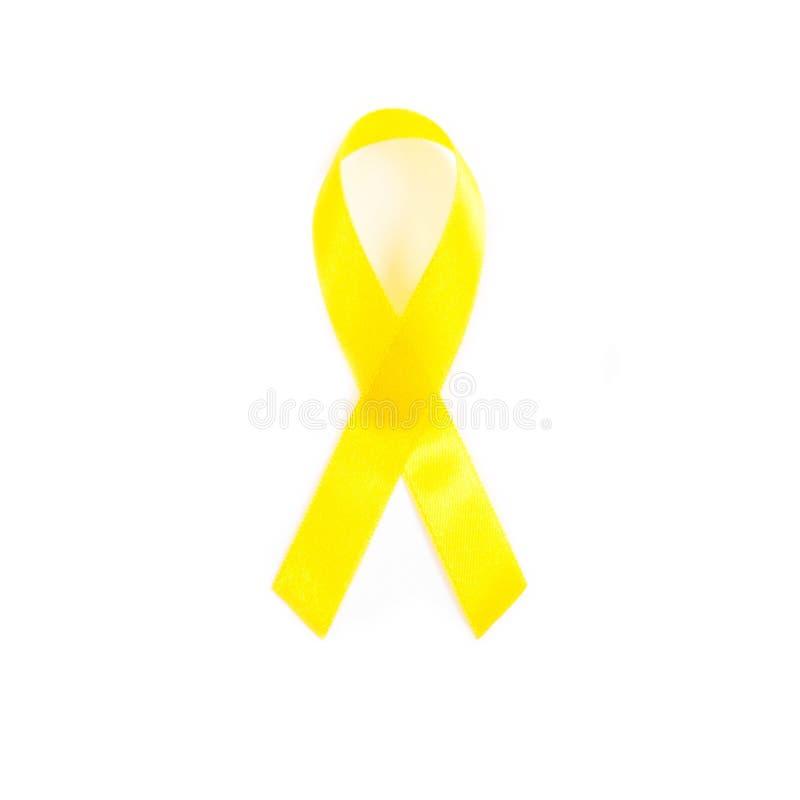 Gelbes Bewusstseinsband Knochenkrebs, Gesundheitswesenkonzept lizenzfreies stockbild