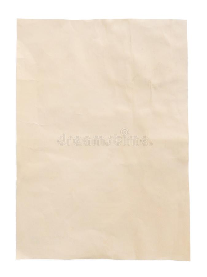 Gelbes Blatt des alten Papiers der Weinlese mit Weg, Draufsicht lizenzfreie stockbilder