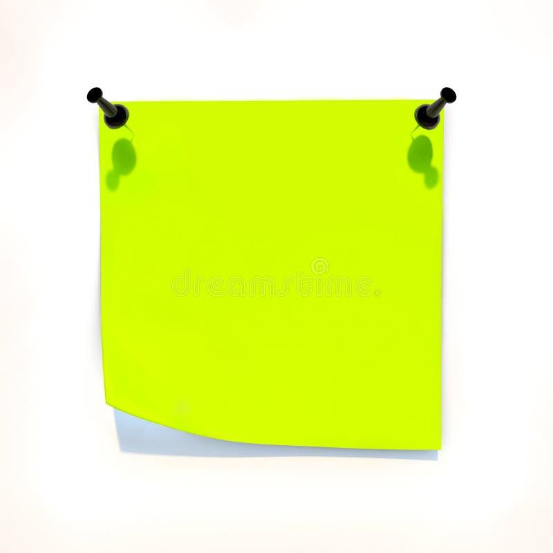 Gelbes Blatt Papier angebracht zur weißen Wand lizenzfreie abbildung