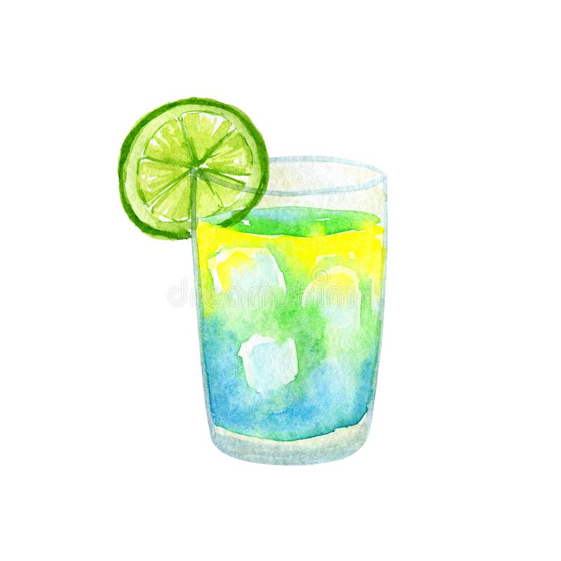 Gelbes blaues Cocktail mit Kalk Hand gezeichnete Aquarellillustration Getrennt auf wei?em Hintergrund stockbild
