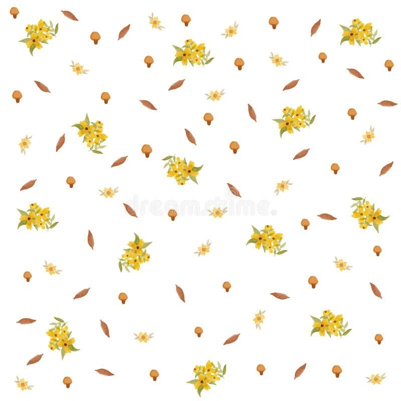 Gelbes Blumenfrühlings-und Pilz nahtloses Muster lizenzfreies stockfoto