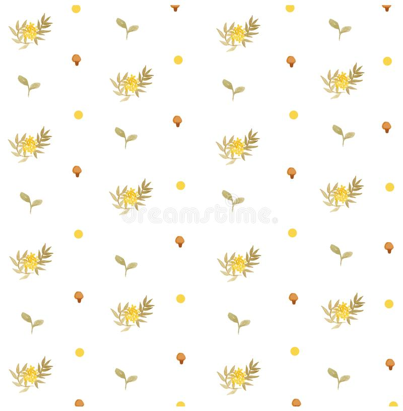 Gelbes Blumenfrühlings-und Pilz nahtloses Muster stockbild