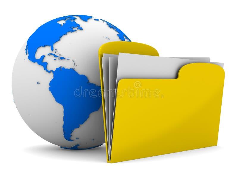 Gelbes Computerfaltblatt und -kugel auf Weiß lizenzfreie abbildung