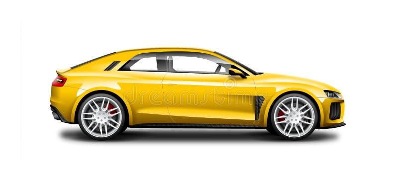 Gelbes Coupé-sportliches Auto auf weißem Hintergrund Seitenansicht mit lokalisiertem Weg stock abbildung