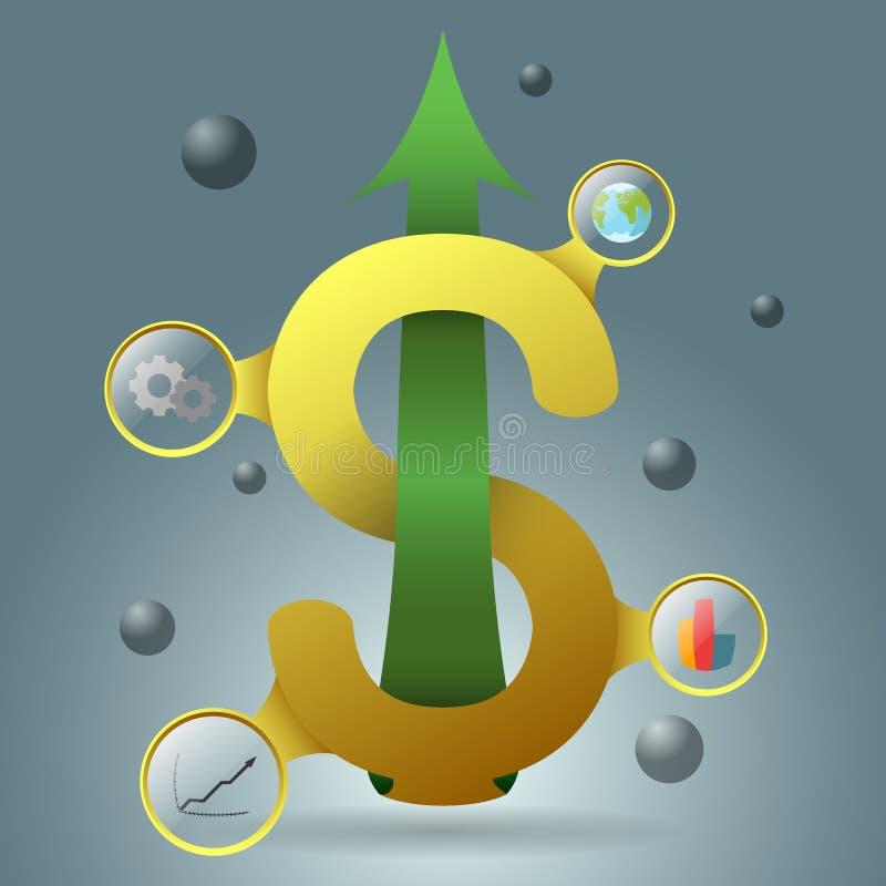 Gelbes Dollarsymbol mit dem Heranwachsen des grünen Pfeiles lizenzfreie stockfotografie