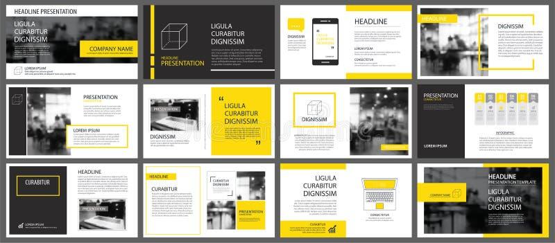 Gelbes Element für das Dia infographic auf Hintergrund darstellung lizenzfreie abbildung