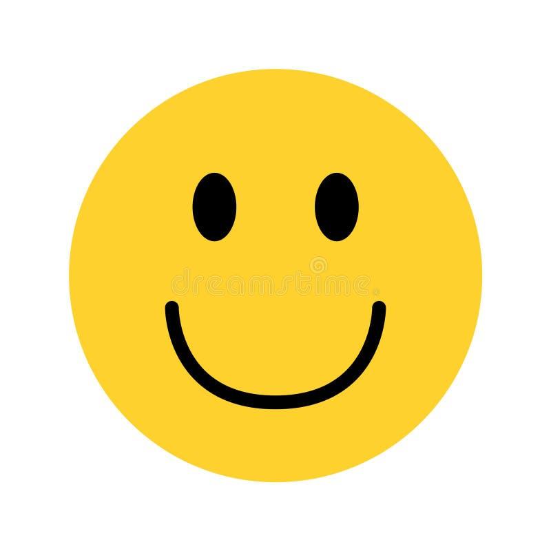 Gelbes emoji Gesicht des smiley auf weißem Hintergrund lizenzfreie abbildung