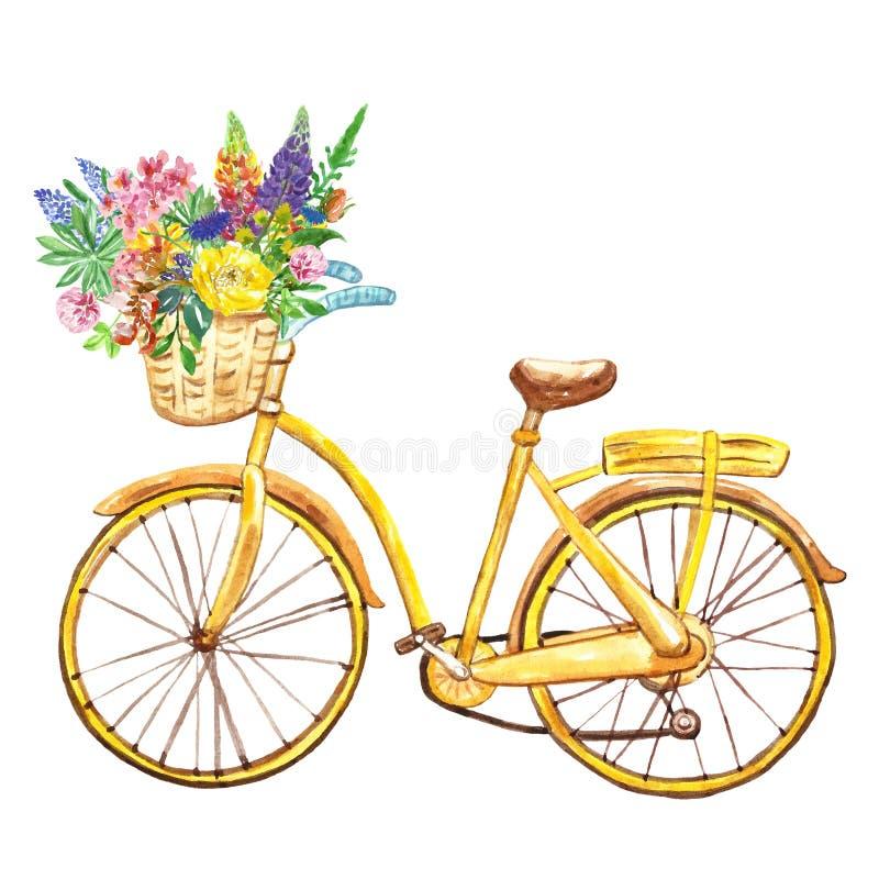 Gelbes Fahrrad des Aquarells, lokalisiert auf weißem Hintergrund Handgemaltes Fahrrad mit Korb und wilden Blumen kann als Hinterg stockfotografie