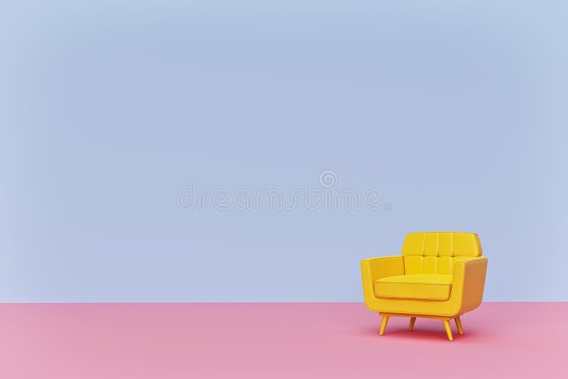 Gelbes farbiges Lehnsesselsofa auf Pastellhintergrund Minimales Konzept mit Kopienraum Wiedergabe 3d vektor abbildung