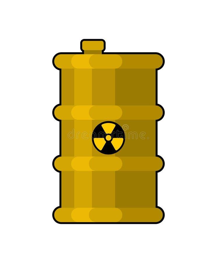 Gelbes Fass mit giftigem Abfall radioaktiver Kanister mit Wechselstrom lizenzfreie abbildung
