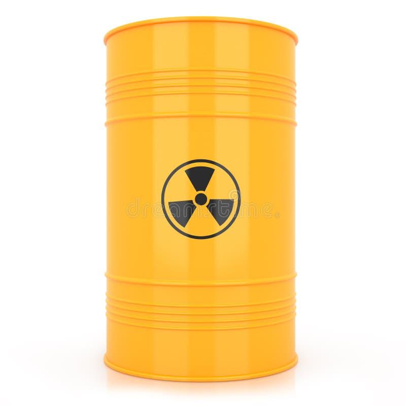 Gelbes Fass mit radioaktivem Abfall lizenzfreie abbildung