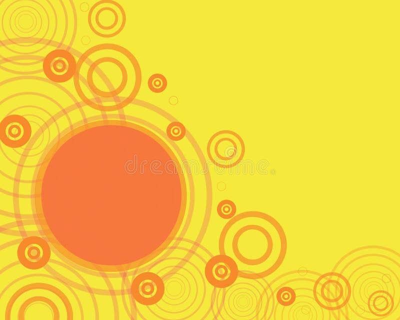 Gelbes Feld mit orange circl lizenzfreie abbildung