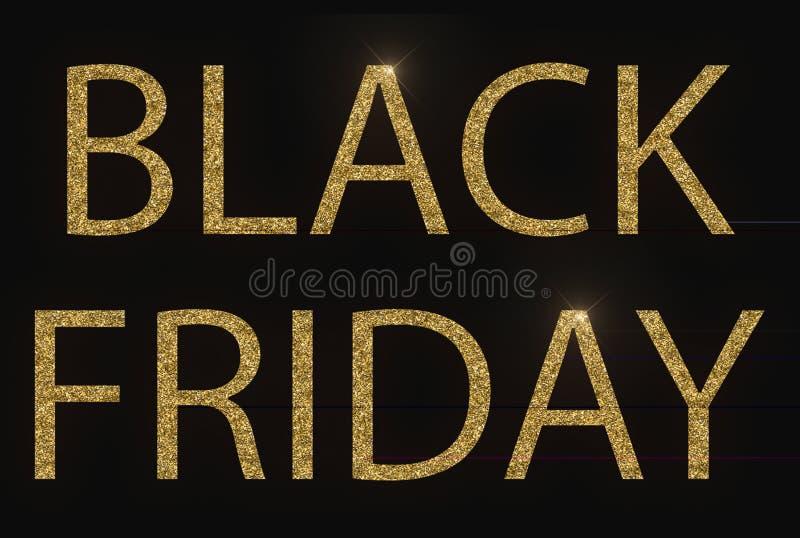 Gelbes Goldmetallischer schwarzer Freitag-Worttext mit Lichtreflex an stockfoto