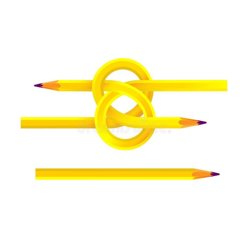 Gelbes hölzernes Scharfes der Bleistifte geknotet Zwei Locken und Bernstein lokalisierte Illustration Für Design und Dekoration stock abbildung