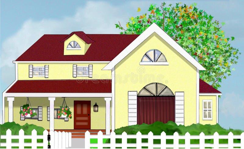 Gelbes Haupthaus mit Baum und weißem Pfosten-Zaun lizenzfreie abbildung