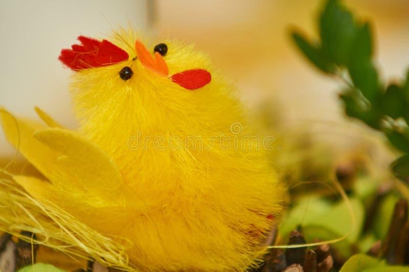 Gelbes Küken in Ostern-Dekoration lizenzfreies stockfoto