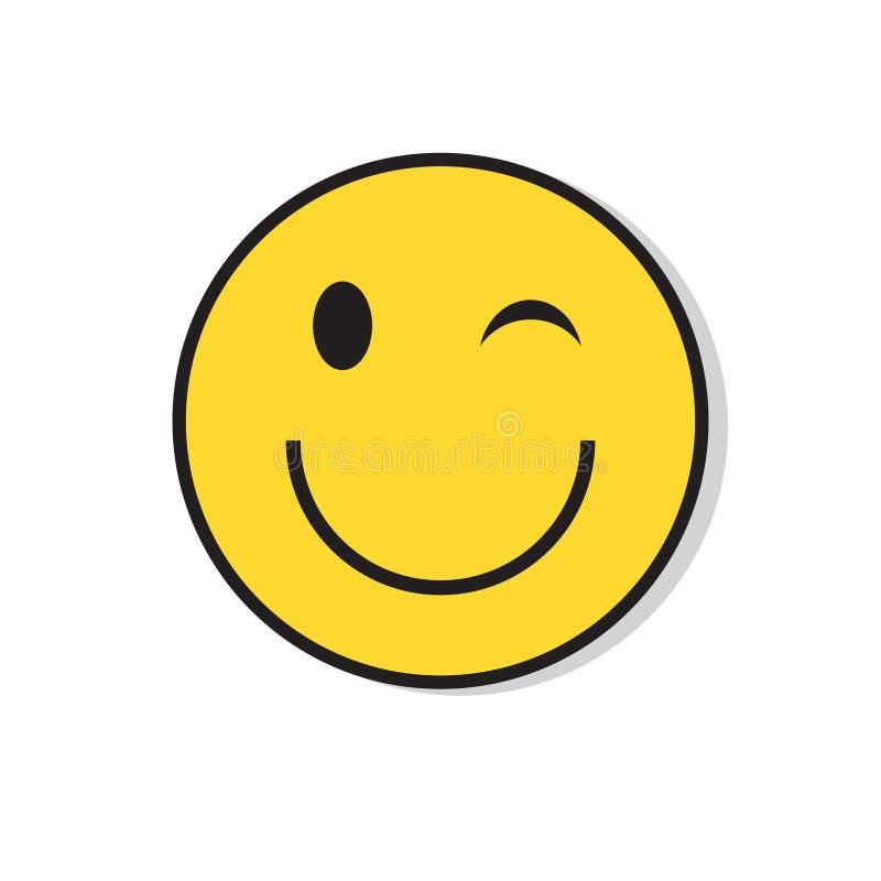 Gelbes lächelndes Gesicht Wink Positive People Emotion Icon stock abbildung