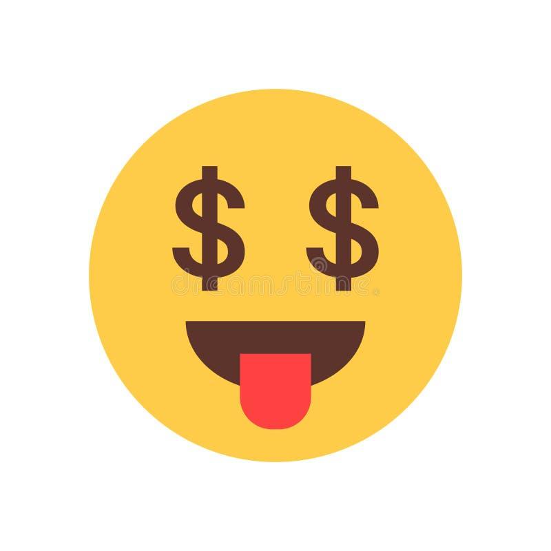 Gelbes lächelndes Karikatur-Gesichts-Show-Zungen-Geld Rich Emoji People Emotion Icon stock abbildung