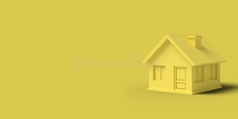 Gelbes leeres Haus auf einem abstrakten Bild des gelben Hintergrundes Minimales Konzeptgeb?udegesch?ft 3d ?bertragen lizenzfreie abbildung