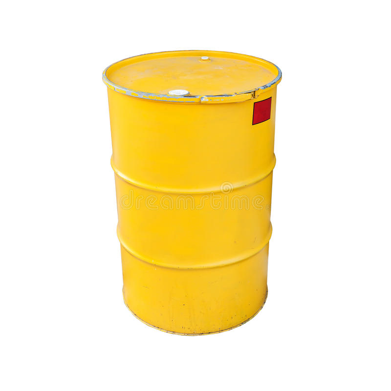 Gelbes Metallfaß lokalisiert auf Weiß lizenzfreie stockfotografie