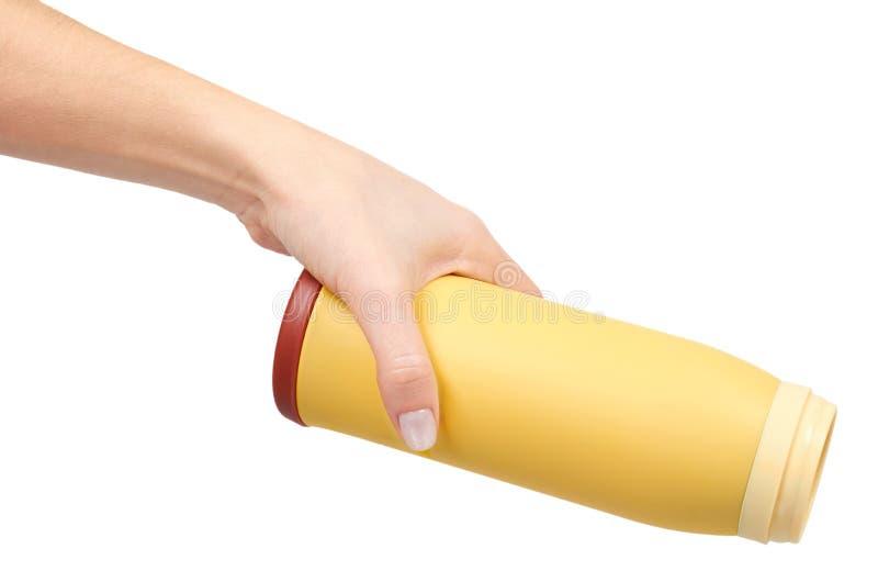 Gelbes Metallthermosflasche für heiße Getränke, Reisekonzept stockbild