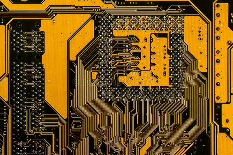 Gelbes Motherboard der Rückseite lizenzfreies stockfoto