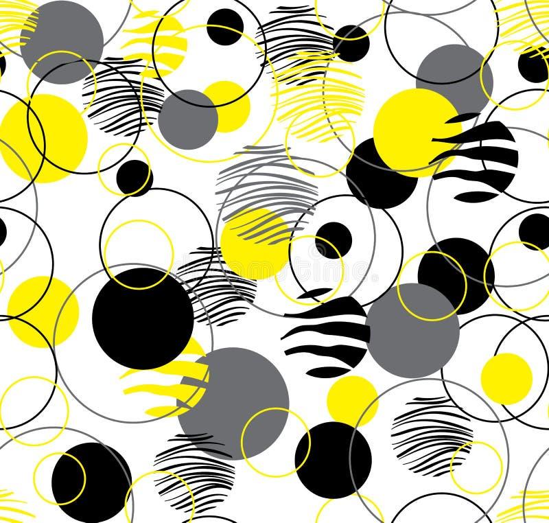Gelbes Muster auf einem wei?en Hintergrund Nahtloses Muster für das Verpacken, Gewebe, Papier, Hintergrund Vektor stock abbildung