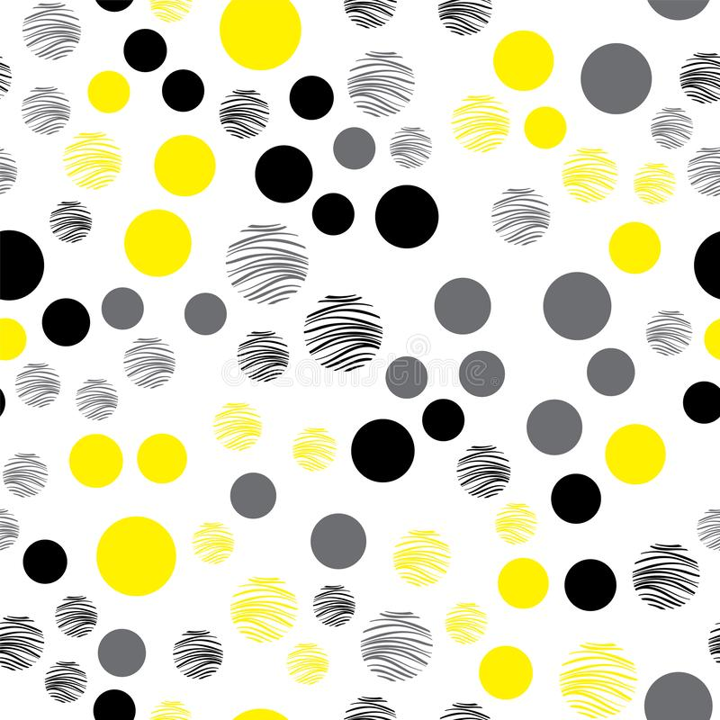 Gelbes Muster auf einem wei?en Hintergrund Nahtloses Muster f?r das Verpacken, Gewebe, Papier, Hintergrund Vektor stock abbildung