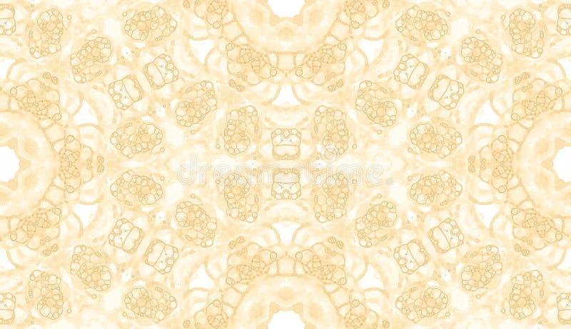 Gelbes nahtloses Muster Unterhaltende empfindliche Seifenblasen Gezeichnete Verzierung der Spitzes Hand Textil vektor abbildung
